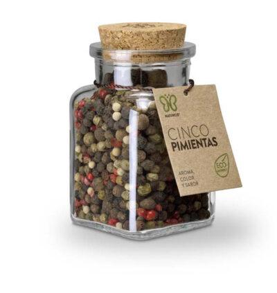 Mezcla de pimientas en grano negra, blanca, verde, rosa y Jamaica.